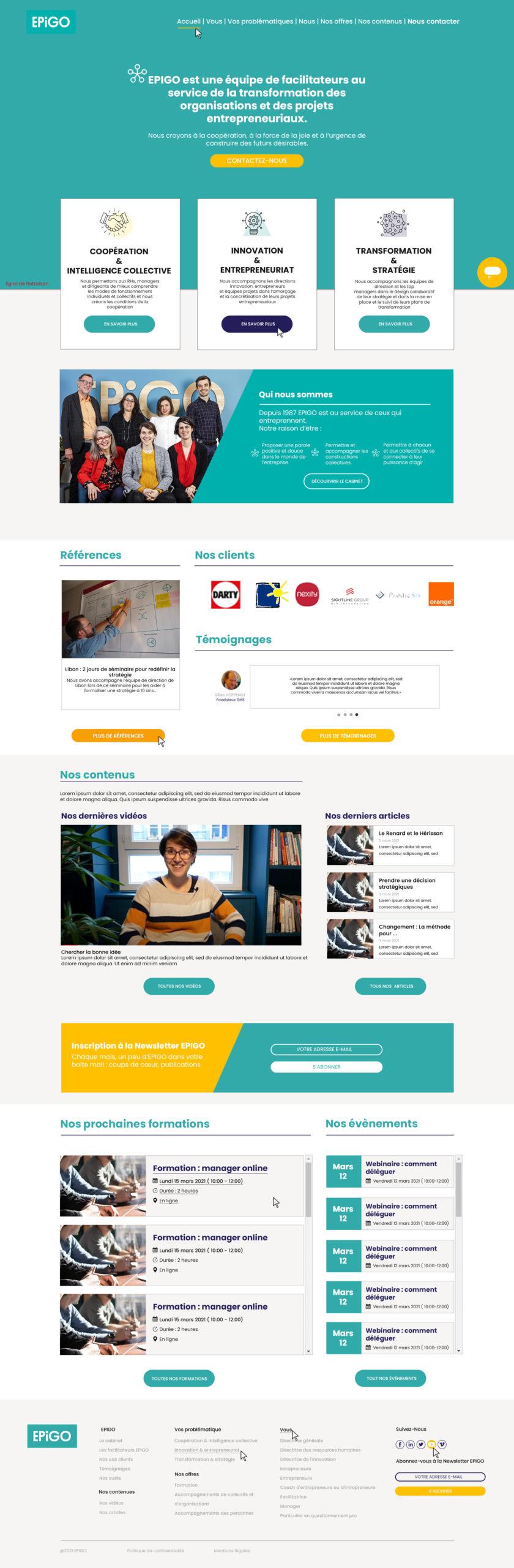 Maquette de la home page